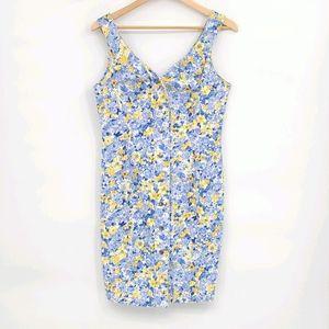 Vintage Paris Blue Floral Denim Mini Dress